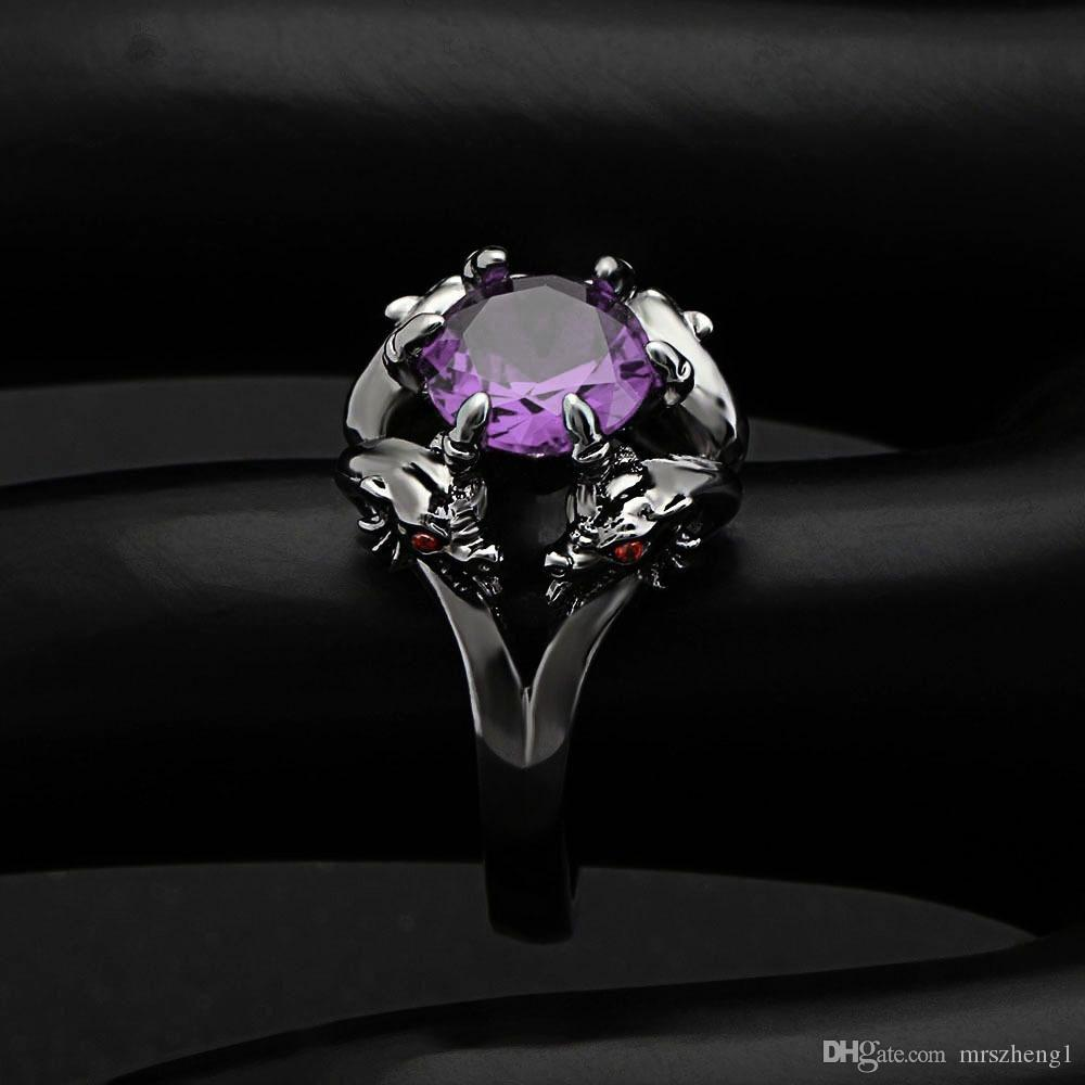 Jewelry Vintage Amethyst Sapphire Crystal Ring Black Gold Filled