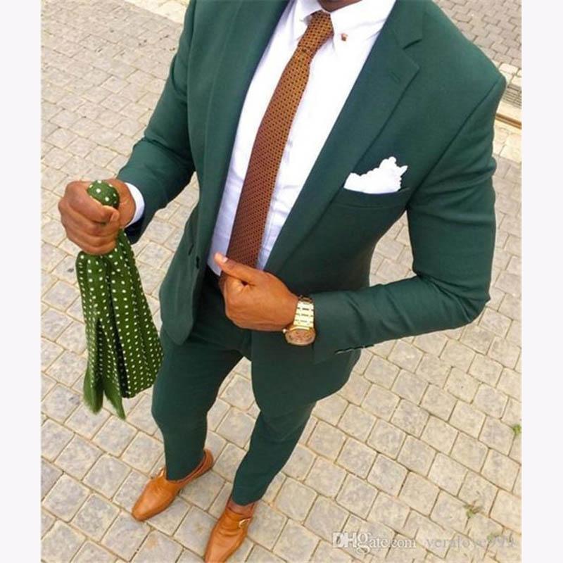 Hübscher Terno Masculino Grün Männer Casual Anzug Set Slim Fit 2 Stück Smoking Für Herren Bräutigam Hochzeit Anzüge Benutzerdefinierte Prom Blazer 2018