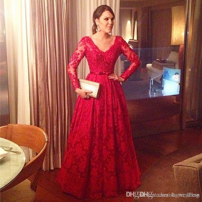 Red Long Sleeves Evening Dresses 2018 Lace Applique V-Neck Floor Length Plus Size Prom Dresses Formal Long robe de soire