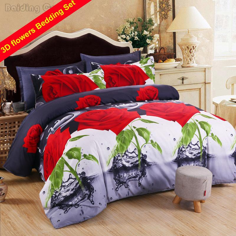 New Arrived 3D Bedding Set Red Rose Flower Bedclothes Bed Linen Sets King Size Duvet Cover Flat Sheet Pillowcases Free Shipping