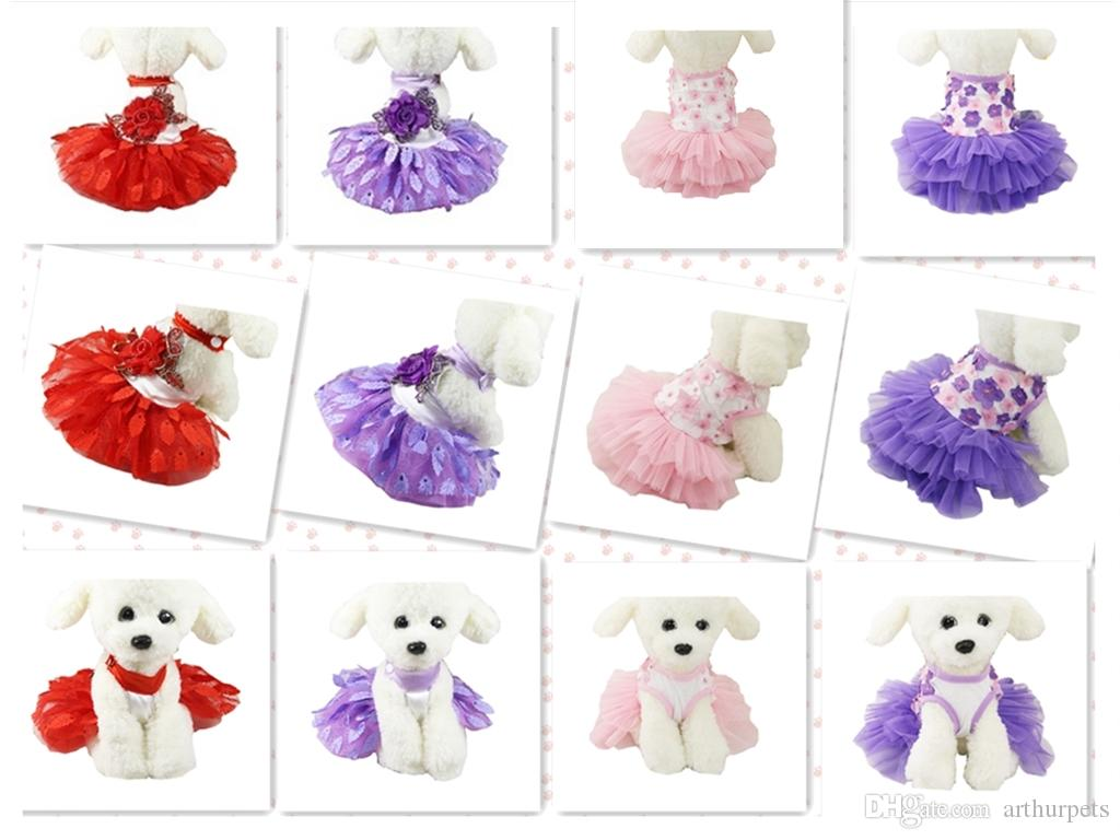 Multi Patterns Colourful Summer Pet Fashion Sweet Cute Sexy Hot Princess Peacock Leaf Pet Dog Lace Tutu Dress Summer Wholesale Free Shipping