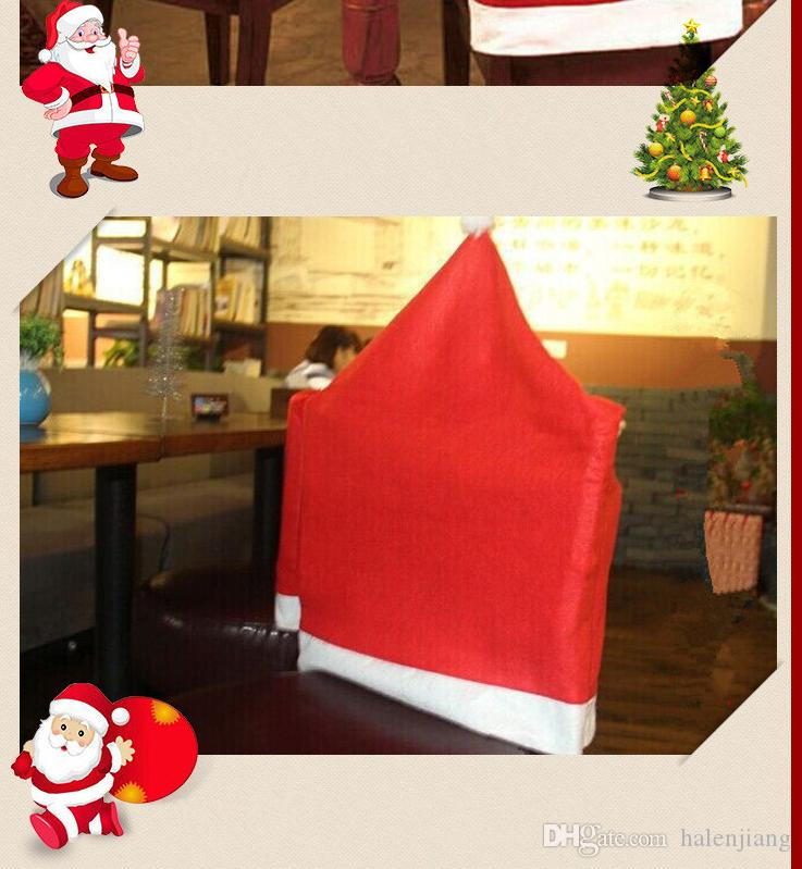 Christmas decoration red and white classcial design santa claus design chair back cover with christmas topic