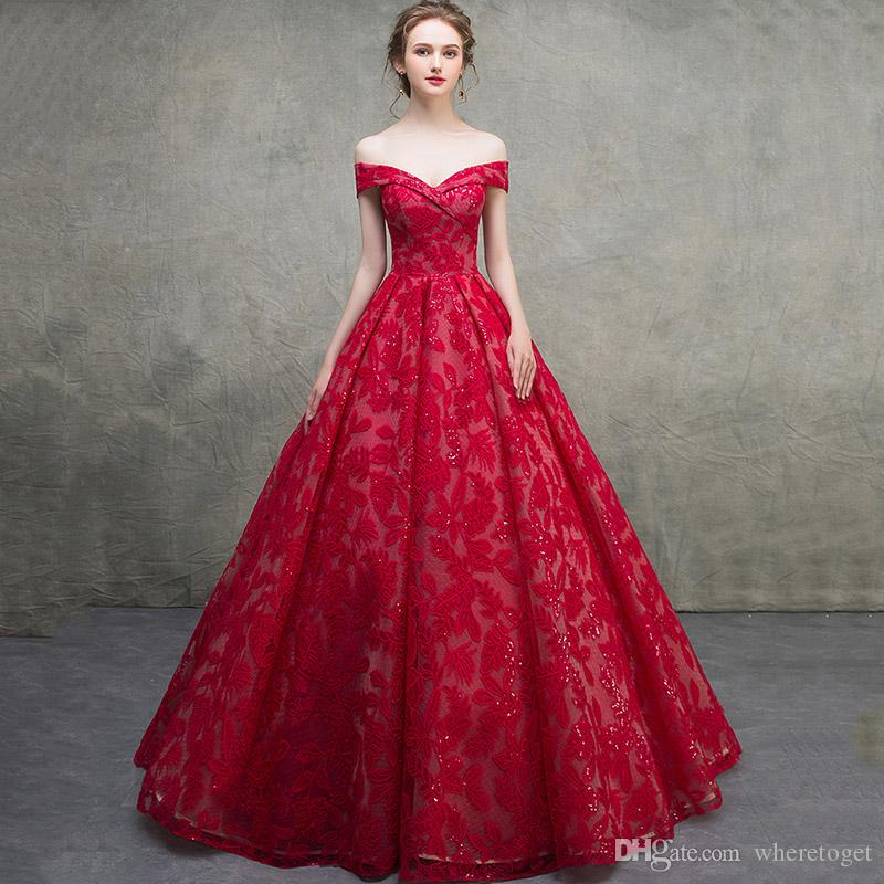 De luxe rouge victorienne Robe De Mariage Robe Robes 2019 Dentelle Sexy V Cou De L'épaule Lacet Corset Plus La Taille Robes De Mariée De Mariage