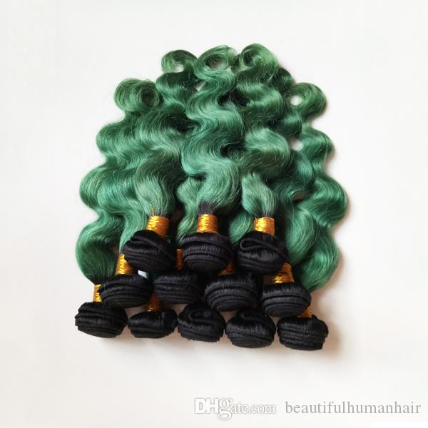 Unprocessed Brazilian European Virgin human Hair Weft Ombre 8-28inch Two Tone 1B/green Rare and high-end hair Indian Remy Hair Extensions