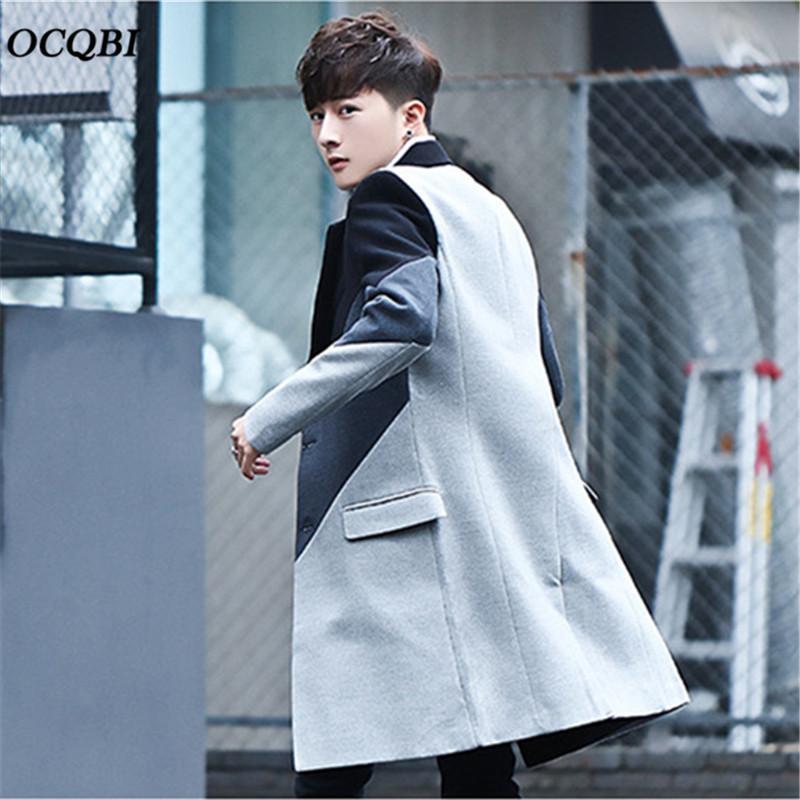 2018 한국어 스타일 슬림 남성 코트 인쇄 코트 패션 캐주얼 겨울 드레스 코트 남성 플러스 사이즈