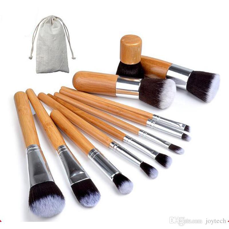 10PCS 11PCS المهنية ماكياج فرش مجموعة مسحوق مؤسسة عينيه الشفاه المكياج فرشاة التجميل أداة التجميل كيت مع حقيبة ماكياج في المخزون