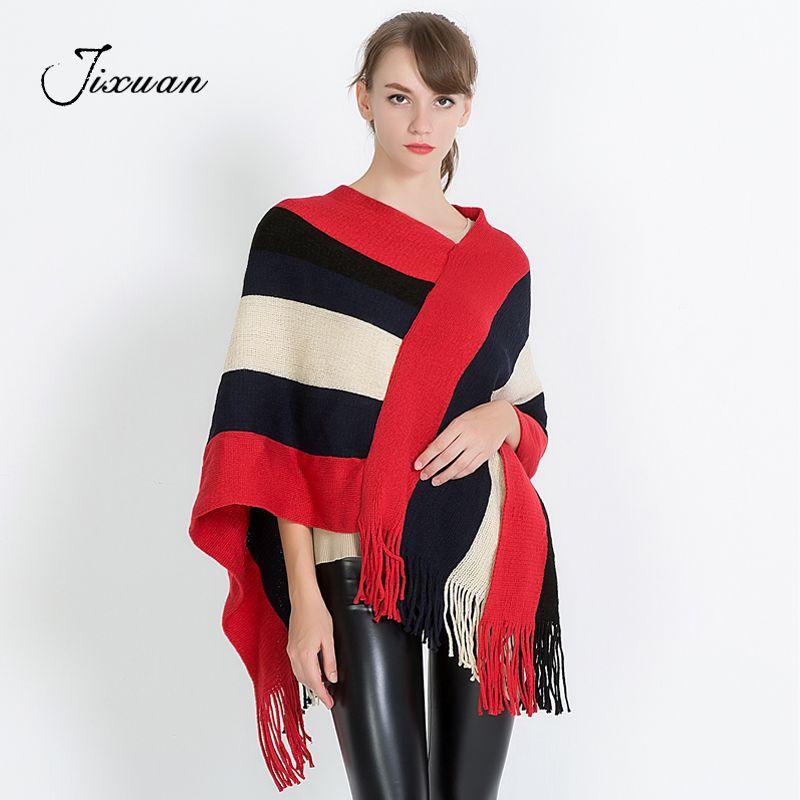 Moda mujer bufanda de algodón doble de punto Poncho Cashmere negro rojo de lana Pashmina 2017 invierno cálido borla femenina mantones Capes