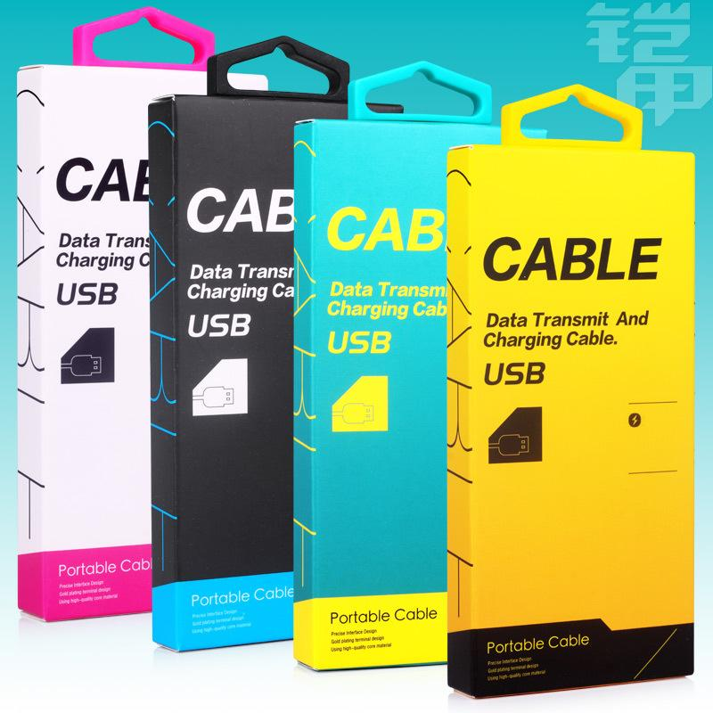 300pcs/lot High quality Mobile Phone USB Cable Paper Cardboard Packaging Box Hang hook Data Line Pack Case