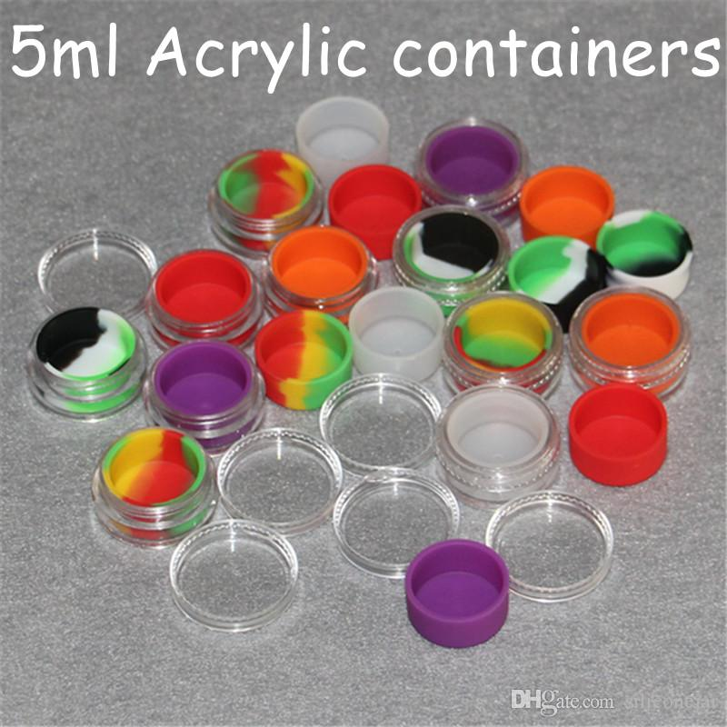 Cosmetic acrylic jar 5ml plastic wax container silicone liner clear eco-friendly plastic shatter resistant oil container nail polish storage