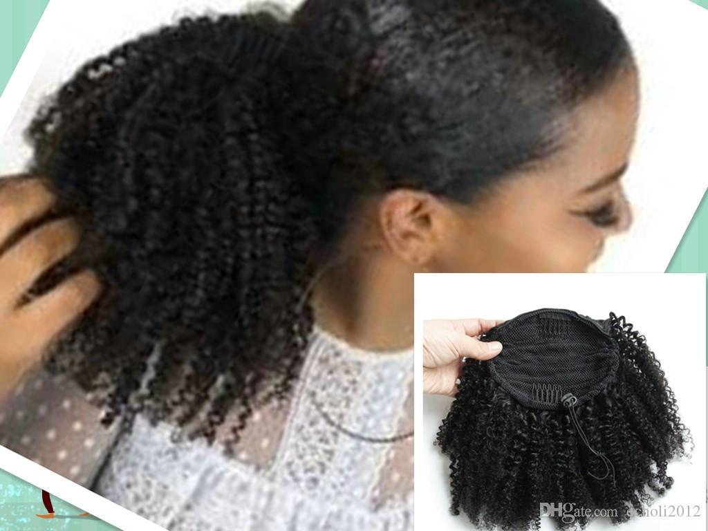 Extensiones de cola de caballo rizadas rizadas afro rizado rizado del pelo humano de las mujeres, clip en el pelo virginal brasileño cola de caballo rizado afro rizado rizado 1b