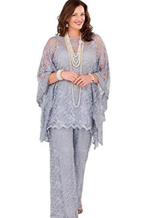 Dantel annesi Gelin Pant Suits 2017 Uzun Kollu Üç Adet Gümüş Gri Örgün Kadın Artı Boyutu Damat Anne Elbise Düğün için