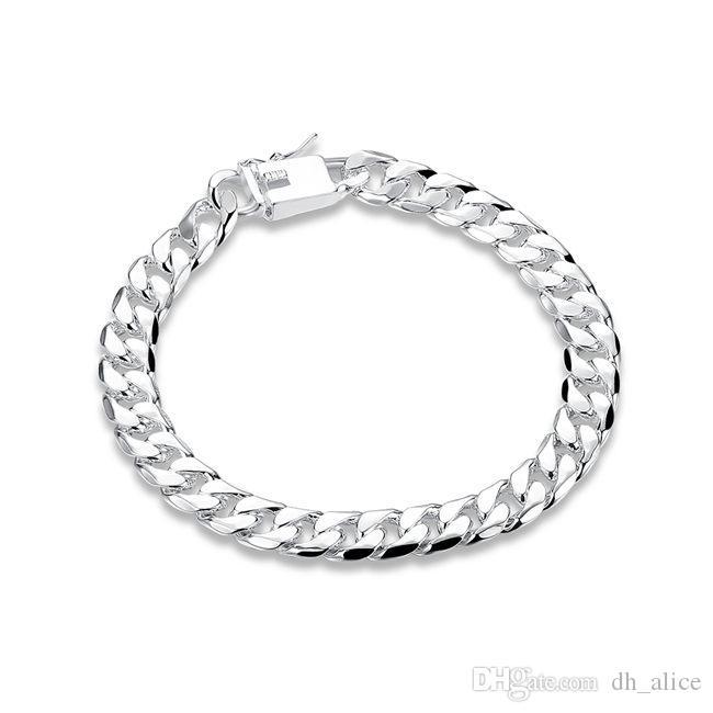 8MM catena catena lato - di sesso maschile in argento sterling soldi braccialetto placcato; caldo di vendita gli uomini e le donne in argento 925 braccialetto SPB227