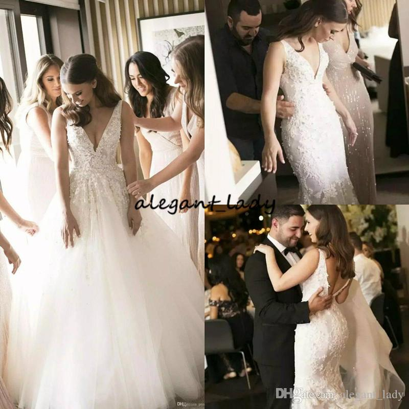 2019 Steven Khalil Mermaid Wedding Dresses with Detecahble Skirt Sweep Train For Dance Pearls Deep V Neck Country Bridal Gowns Wedding Dress
