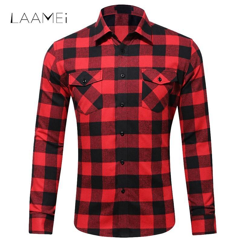 Laamei Flanella Plaid Mens Camicie 2018 Primavera Autunno Casual Camicia a maniche lunghe Uomo Slim Fit Styles Camicie di marca Camisa Masculina