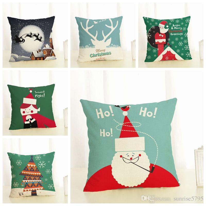 красный и зеленый зимний фестиваль чехлы мультфильм Рождество дети бросить наволочку шезлонг диван decorativos cojines almofada
