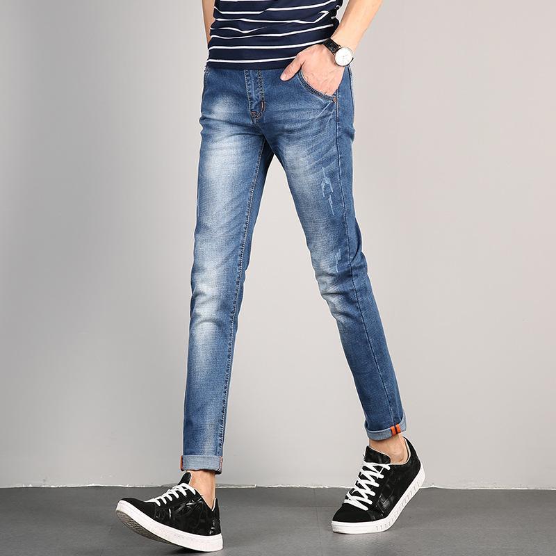 2018 Spring Summer Slim Stretch Casual Mens Denim Jeans Washed Vintage Skinny Distressed Mens Ankle-Length Denim Pants Retro