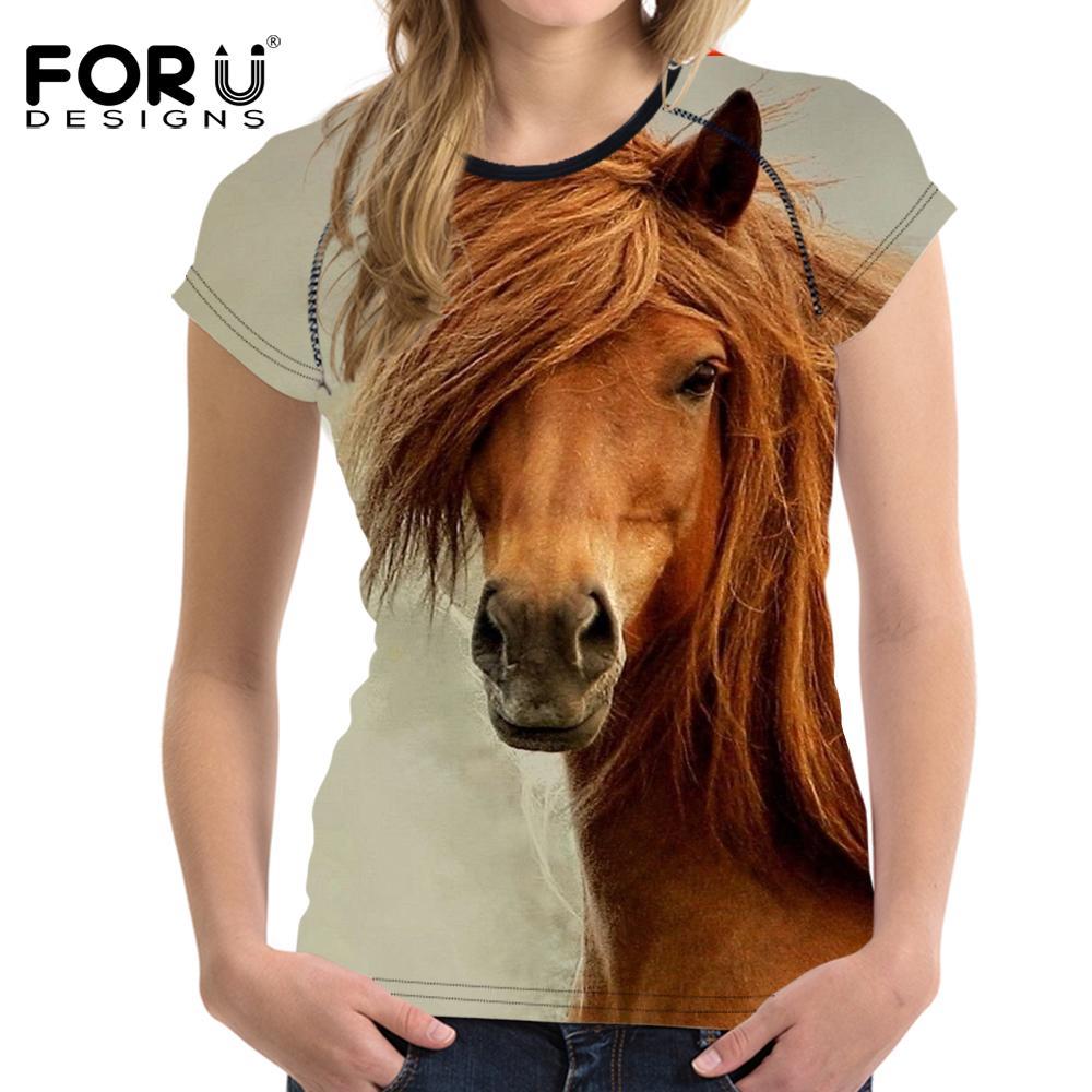 FORUDESIGNS Maglietta basic da donna vintage estate T-shirt 3D da uomo di cavallo Maglietta donna casual a maniche corte per ragazze Femminile