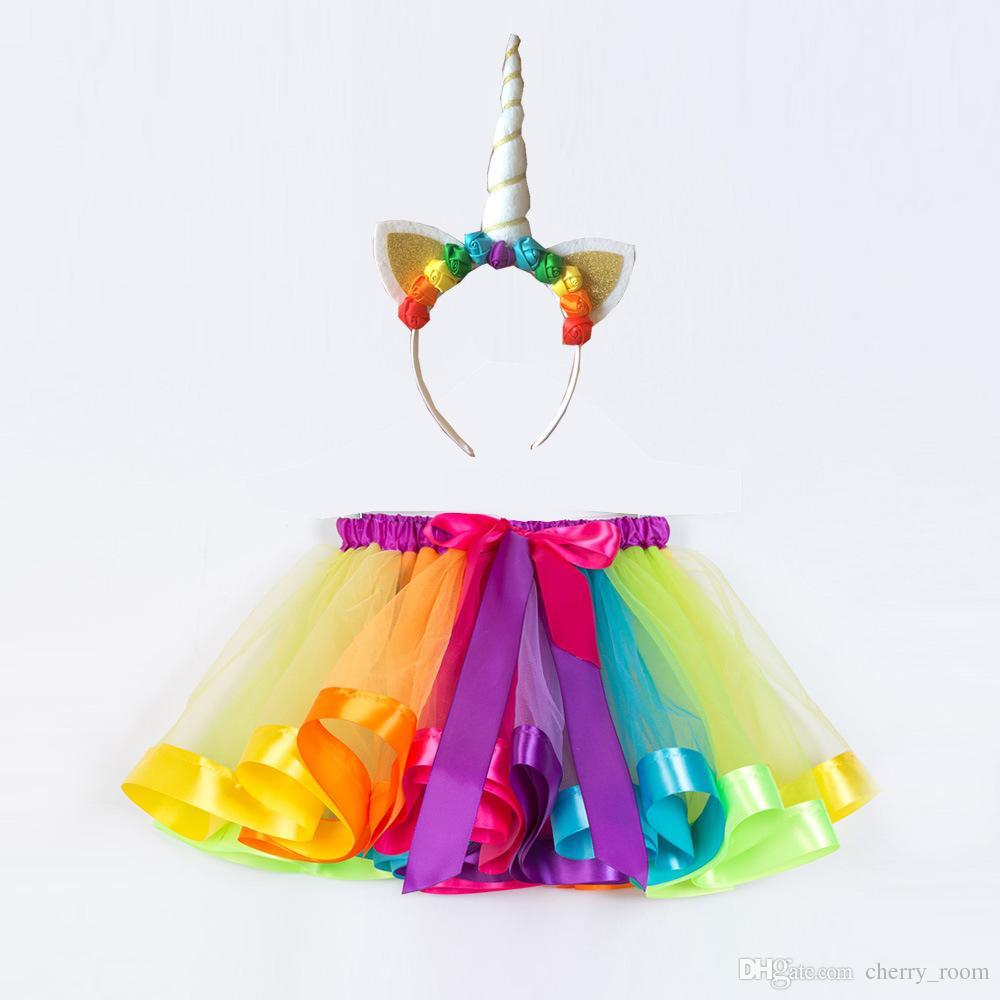 Meninas Em Camadas Rainbow Tutu Saias com Chifre de Unicórnio Headband 2 pcs Conjuntos Crianças Arco Saias Outfits INS Criança Princesa Saia C3769
