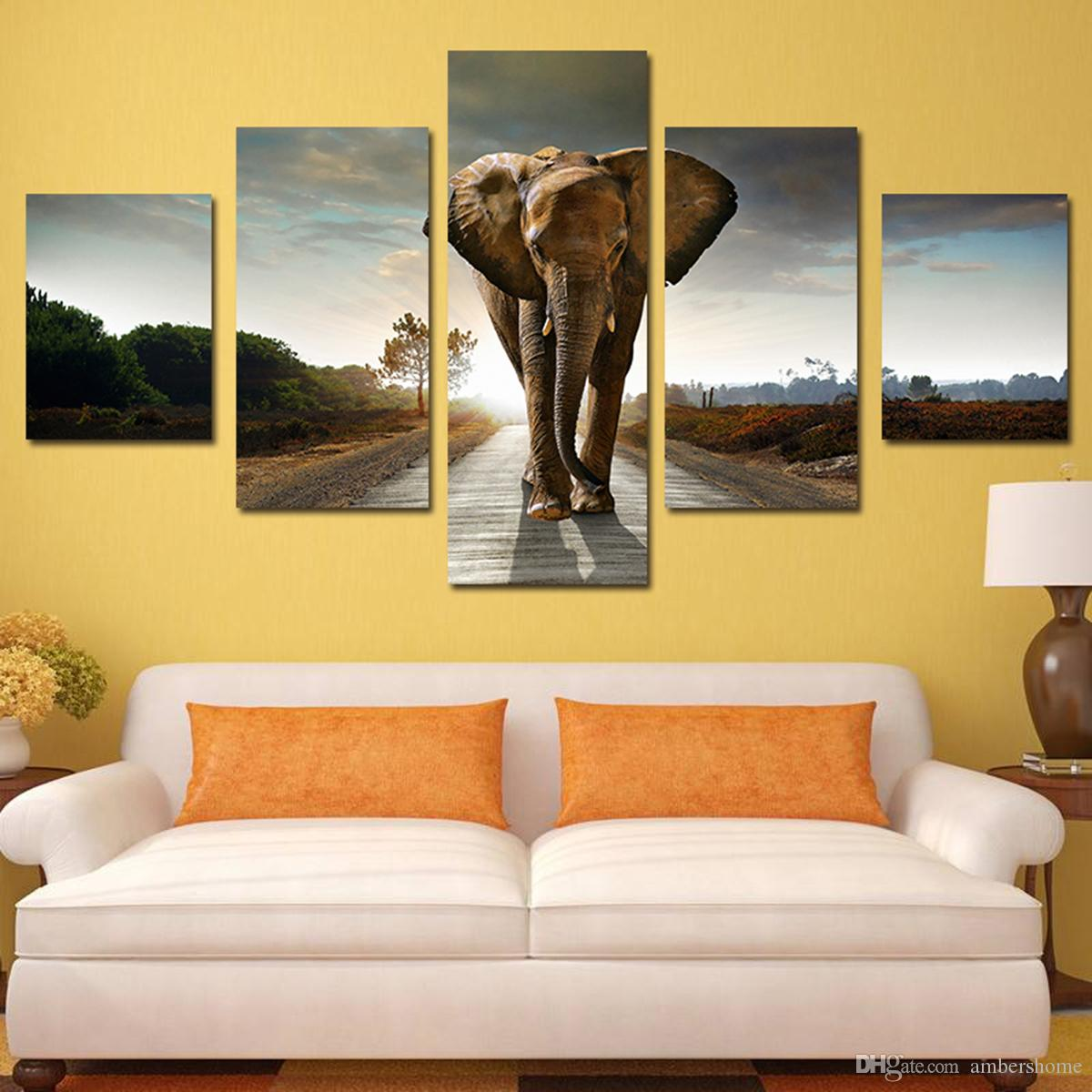 Five African Elephants Hand-painted Painting Canvas Art Decorative ...