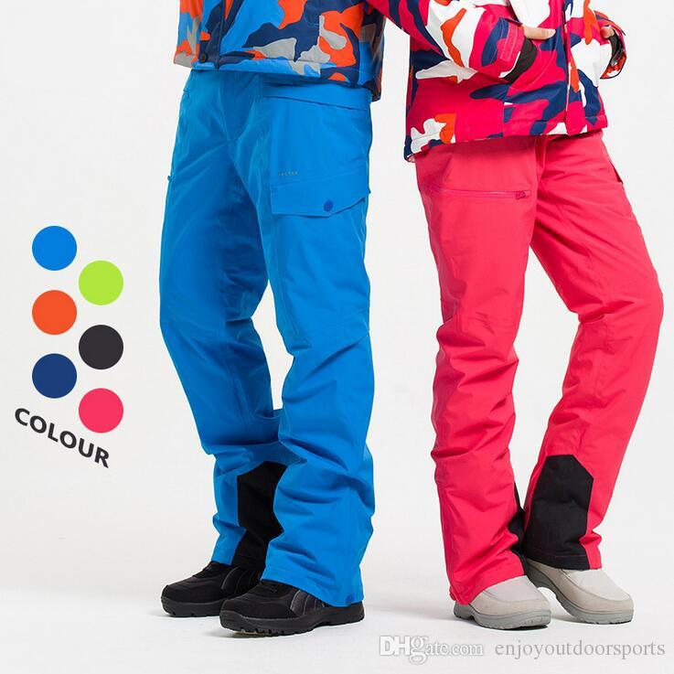 Compre Hombres Mujeres Pantalones De Esqui Pantalones Impermeables A Prueba De Viento Termicos Para La Nieve Pantalones De Snowboard A Prueba De Frio De Color Caramelo Prueba De Snowboard De Invierno Esqui