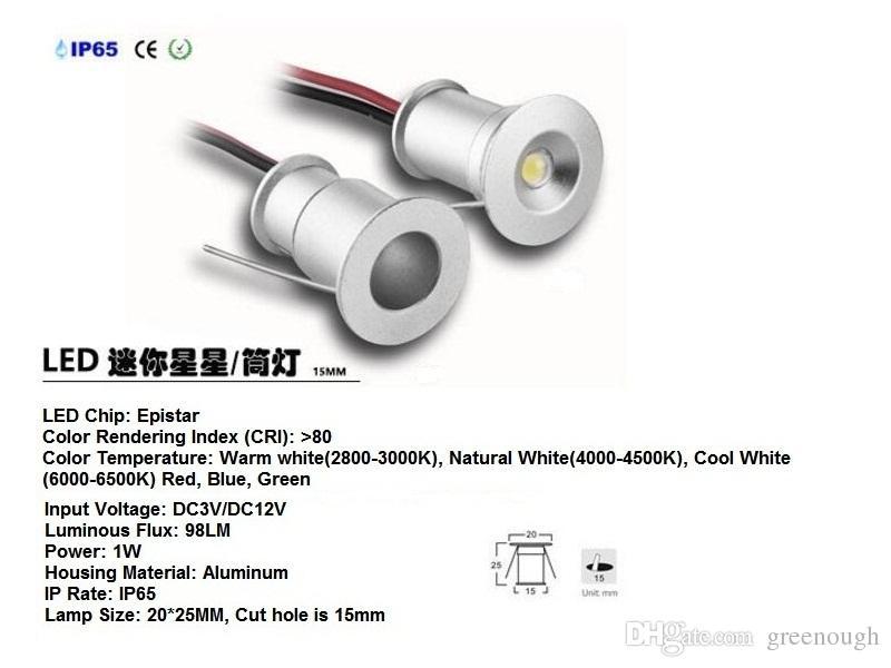 45pcs 1W 15mm Mini LED Under Cabinet Light Downlight Floor Light Recessed Stair Lights Spotlight Ceiling Light