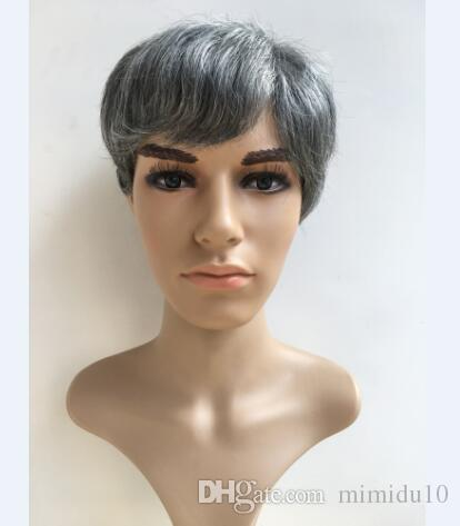 XIZHIMEI Avrupa ve Amerikan erkekler Popüler headdress yüksek kalite beyaz erkek peruk gri beyaz gümüş iki şık kısa düz saç peruk