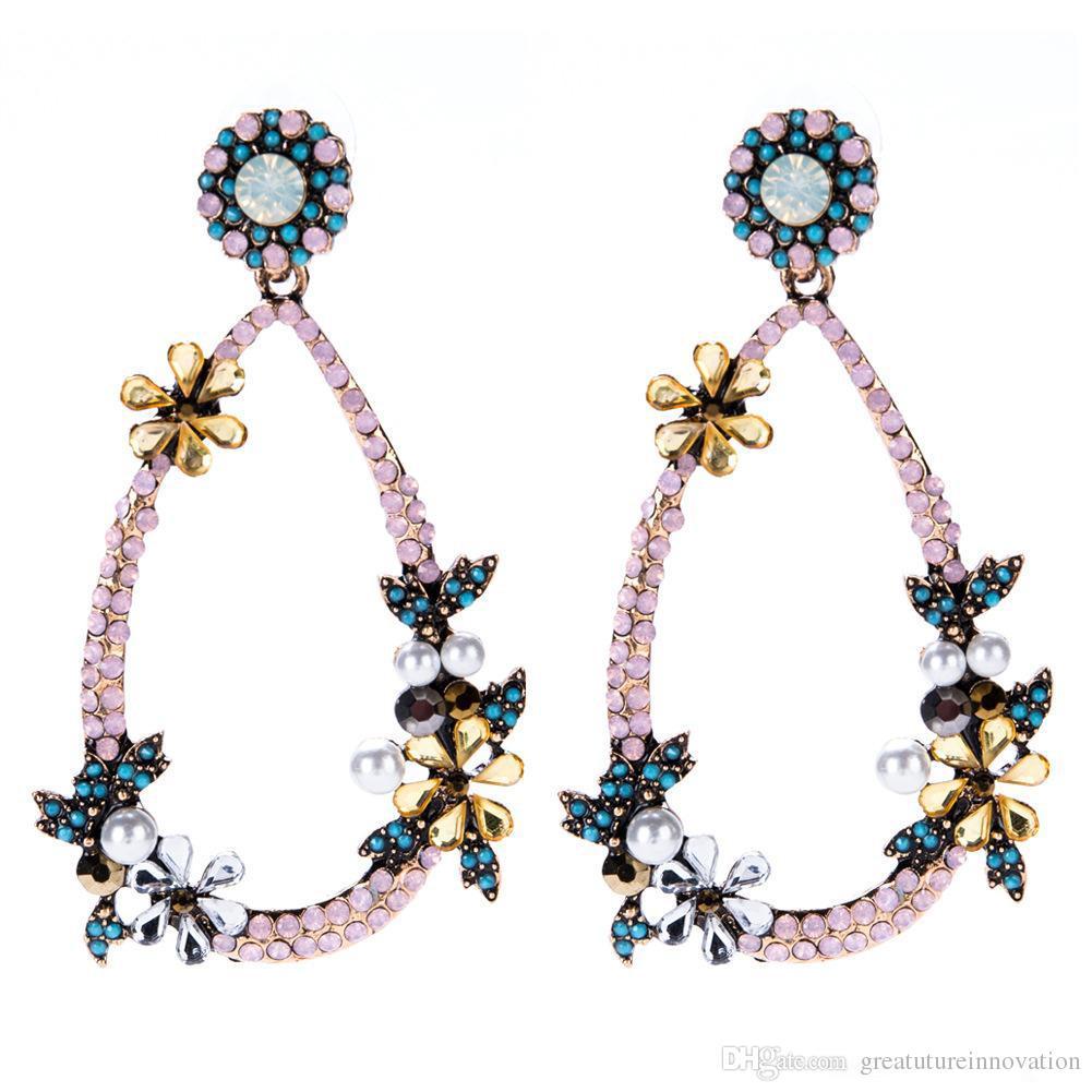 Borla pendientes de gota para las mujeres de moda de lujo boho personalidad étnica Rhinestones flor hojas cuelga los pendientes joyería de la vendimia al por mayor