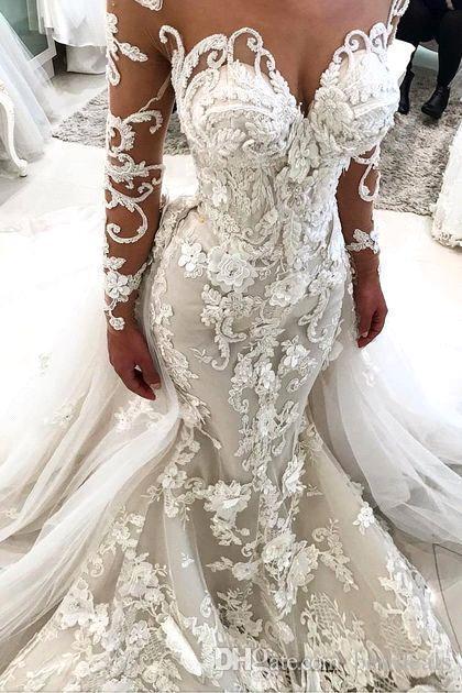 2019 glamouröse Meerjungfrau Brautkleider mit abnehmbarer Zug Illusion Sheer Hals Lange Ärmel Handgemachte Blumen Luxus Brautkleider BA9786