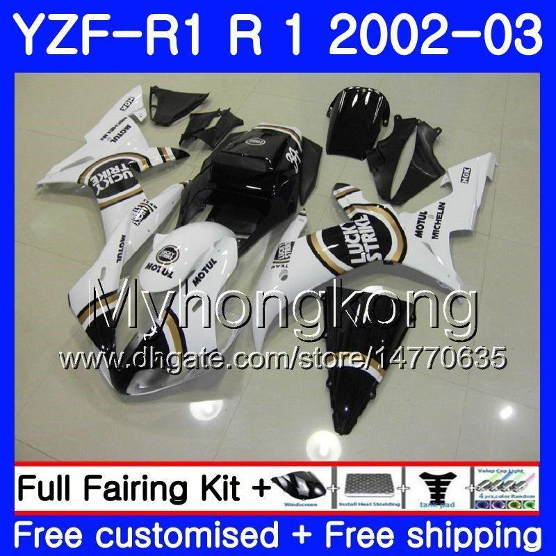 Cuerpos Para YAMAHA YZF R 1 YZF 1000 YZF-1000 YZFR1 02 03 Carrocería 237HM.0 YZF R1 02 YZF1000 YZF-R1 2002 2003 Carenados Lucky Strike Blanco
