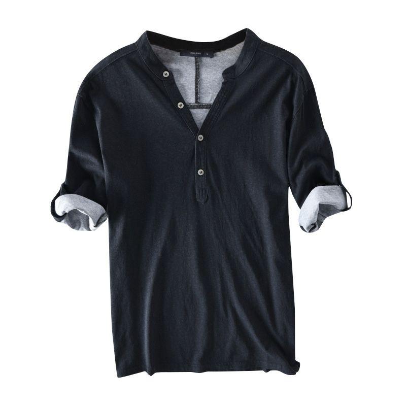 Camiseta Masculina Com Decote Em V Meia Manga Botão Tee Tops Sólidos Algodão Casuais Respirável Lazer Moda T-shirt Dos Homens Camisetas 2018 S-3XL