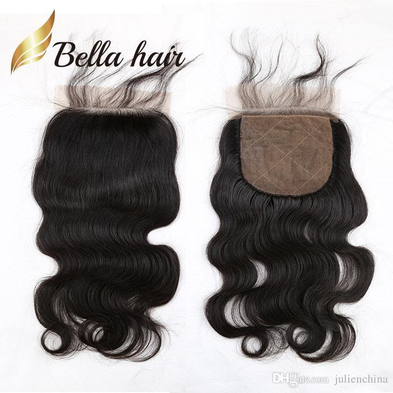 Bella Hair® wysokiej jakości jedwabne zamknięcie bazy 100% nieprzetworzone brazylijskie włosy ludzkie naturalne kolor fala ciała falisty