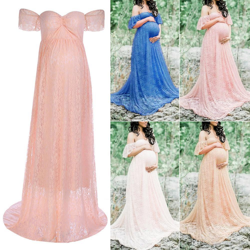 Women Maxi Pregnancy Dresses Fashion Maternity Photography Props DressesPregnant Women Off Shoulder Lace Maxi DressesPhotography Props Photo