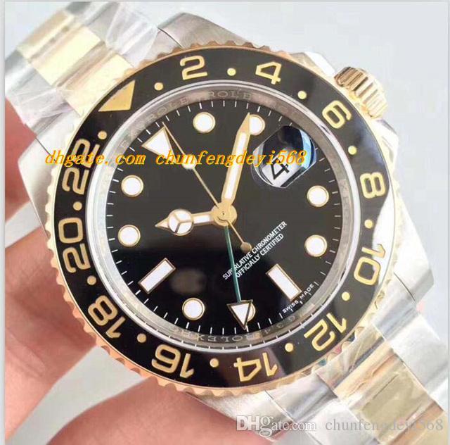 Luksusowy Najlepszy V7 Wersja Dwa-Tone 18k Owinięty Złoto 116713 Bezel ceramiczny ETA 3186 Ruch Auto Data Mężczyźni Dive Sport Watch Box / Certyfikat