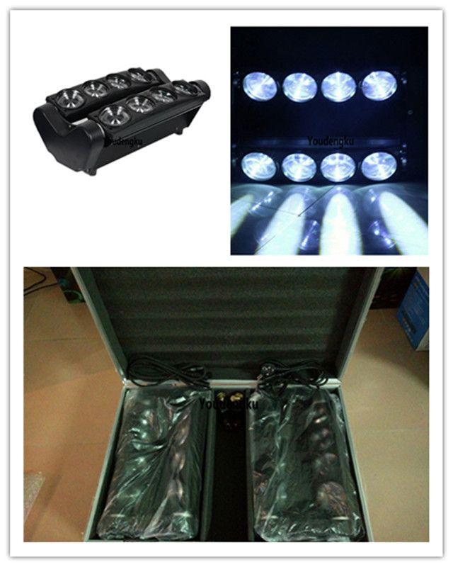 2 Stück mit Flightcase Spider Beam Weiß Moving Beam LED Spider Light 8x10W Weiß LED Spider Light