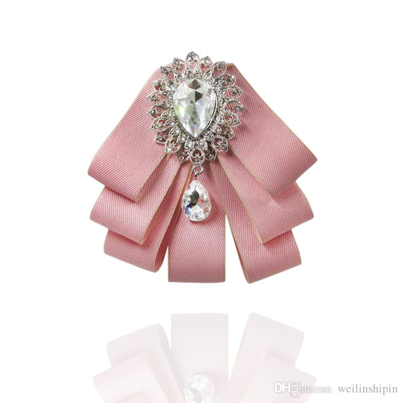 Fabric DIY Bow Brooches for Women Neck Tie Imported Material Wedding Party Accessories High Quality Clothing Accessories-015