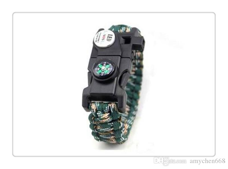 Mix Color Survival Bracelet Compass SOS LED Signal Light Paracord Adjustable Buckle Handmade Paracord Link Climbing Rope Cord