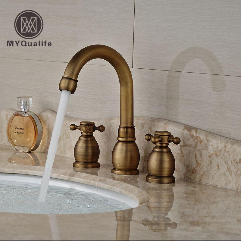 Antique Brass Dual Handle Becken Wasserhahn verbreitet 3-Loch-Bad-Mischbatterien Deck Mount