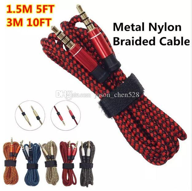 3.5mm Auxiliary AUX Extension Audio Cable Unbroken Metal Fabric Braiede Male Stereo cord 1.5M 3M for Samsung MP5 Speaker Tablet PC