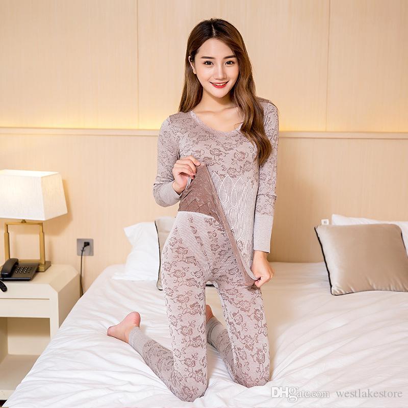 Очень хорошее качество новый зимний толстый теплый женское термобелье, сексуальный, тонкий мягкий длинный Джонс бесшовные тела формирование белье