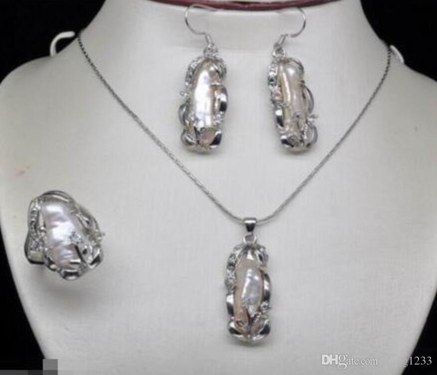 Ensembles de bague de boucle d'oreille de collier pendentif biwa blanc blanc naturel