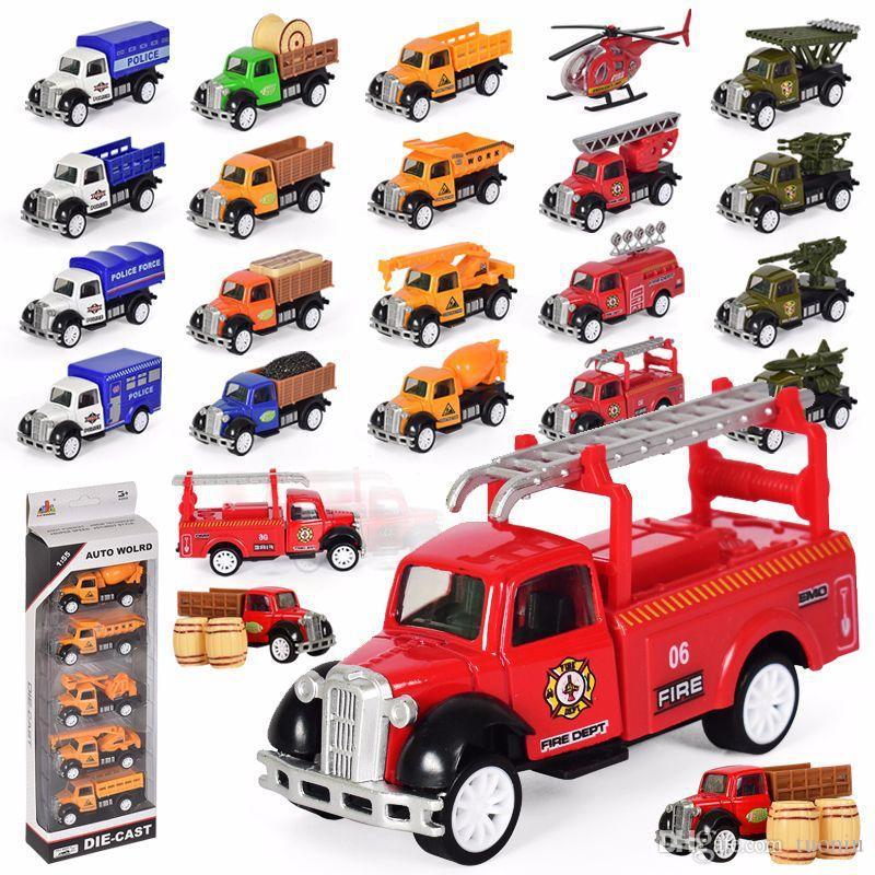 01:55 المزارعين سبيكة شاحنة نموذج لعبة خمسة الهندسة دعوى نموذج سيارة النار العسكري لعبة أطفال سكوتر ديي عيد الميلاد هدية عيد ميلاد بالجملة