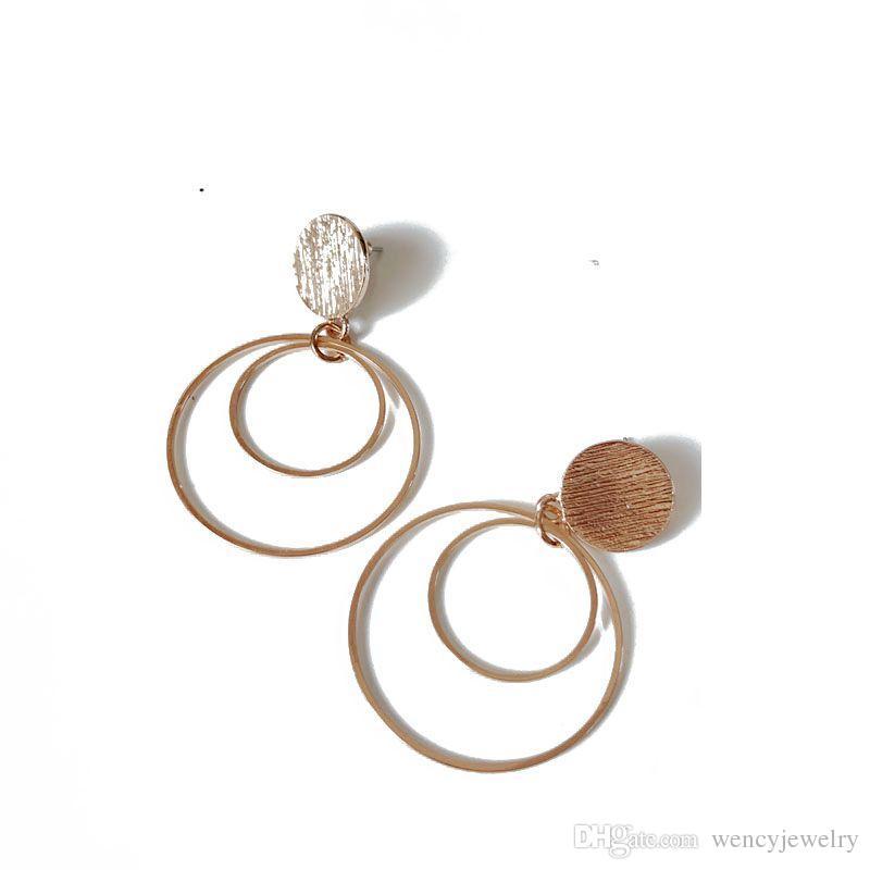Trasporto libero semplice rotonda cerchio design placcatura in oro piuttosto caldo elegante elegante orecchino per le donne