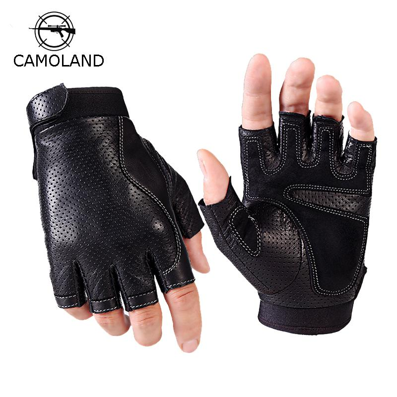 Pro Men Weight Lifting Gym Exercise Sport Fitness PU Leather Half Finger Gloves