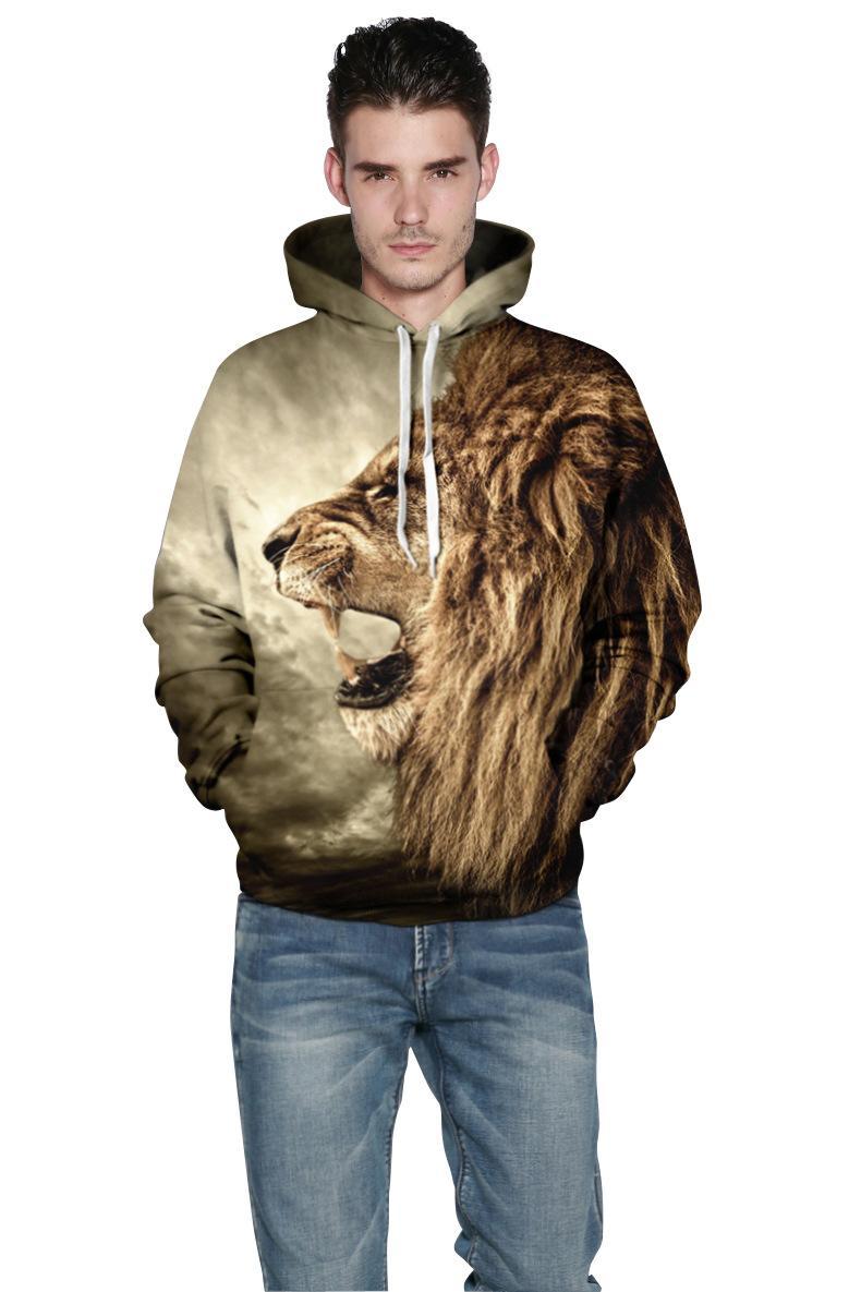 가을 겨울 패션 사자 고대 디지털 인쇄 남성 / 여성 후드 후드 윈드 재킷 3d 스웨터