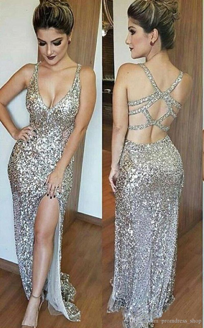 2019 Sexy Spaghetti Straps Silver Sequined Mermaid Prom Dresses Deep V-Neck Criss Cross Backless Sleeveless Side Split Evening Gowns