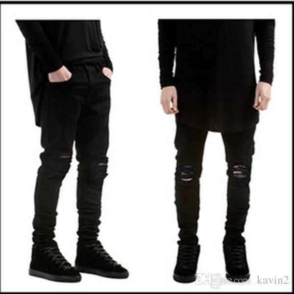 HOT 2018 Moda Casual Negro Jeans skinny rodilla gran agujero estiramiento Jeans hip hop streetwear motocicleta motociclista hombres lápiz pantalones