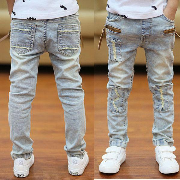 2018 Automne Vêtements pour enfants garçons Jeans Causal Solide Denim Enfants Enfants Jeunes pour garçons Big Kids Slim Jeans Long Pantalons Y18103008
