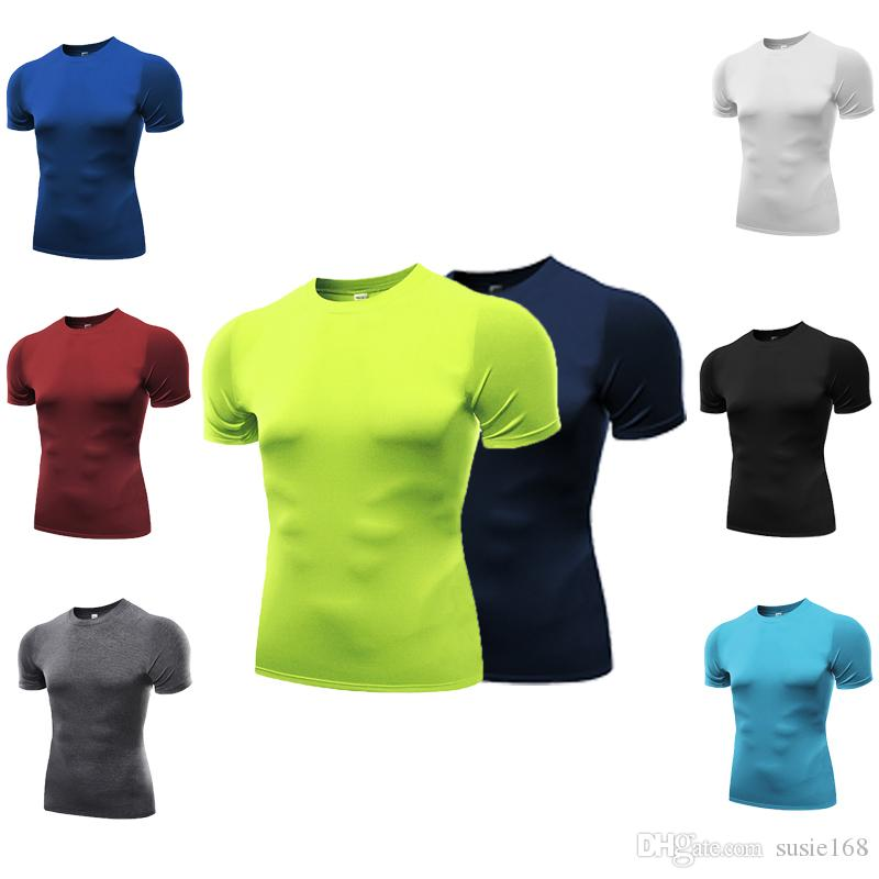 Hot sale Summer Tee Gym wear Mens shirts sports wear quick dry short Sleeves Bodybuilding fit T shirt in 2020