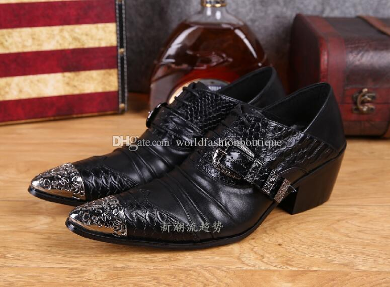 Sapato Masculino Low Heel Men Dress Shoes With Buckle Black Leather Metal Pointed Toe Oxford Shoes For Men Wedding Party