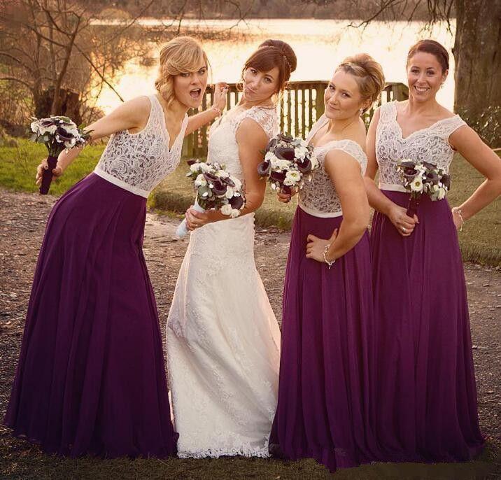 Lila Spitze 2018 Strand Brautjungfer Kleider V-Ausschnitt A-Linie Chiffon Long Trauzeugin Kleider Vintage Günstige Formale Abendkleider